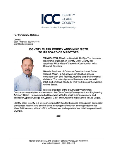 Identity Clark County Adds Mike Nieto to its Board of Directors