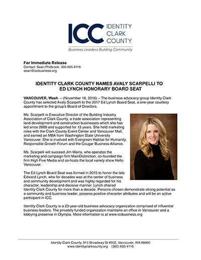 Identity Clark County names Avaly Scarpelli to Ed Lynch Honorary Board Seat