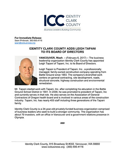Identity Clark County Adds Leigh Tapani to its Board of Directors