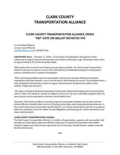 "Clark County Transporation Alliance Urges ""No"" Vote on Ballot Initiative 976"
