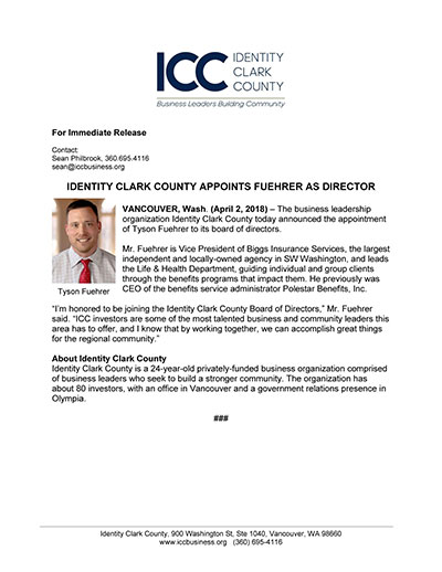Identity Clark County Appoints Fuehrer as Director
