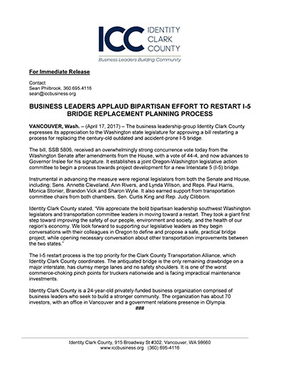 Business Leaders Applaud Bipartisan Effort to Restart I-5 Bridge Replacement Planning Process