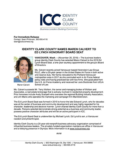 Identity Clark County Names Maren Calvert to Ed Lynch Honorary Board Seat