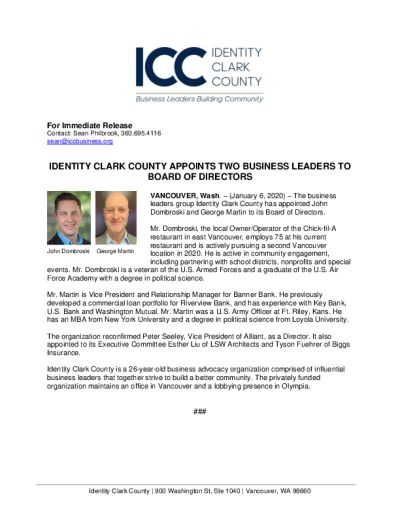 Identity Clark County Appoints Two Business Leaders to Board of Directors
