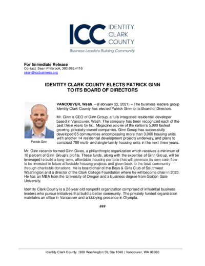 Identity Clark County Elects Patrick Ginn to its Board of Directors