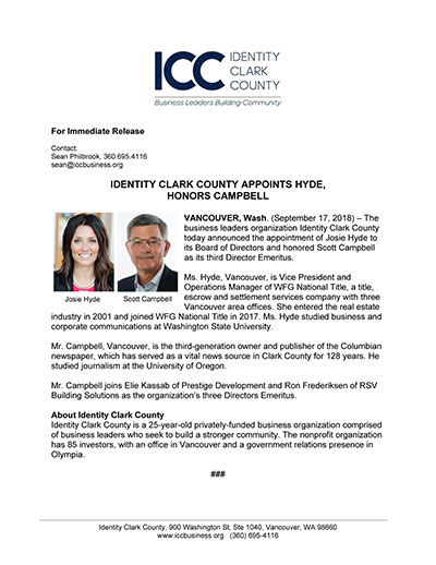 Identity Clark County Appoints Hyde, Honors Campbell