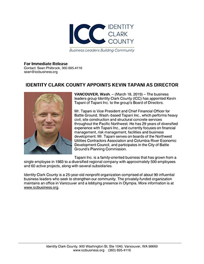 Identity Clark County Appoints Kevin Tapani as Director