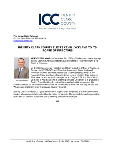 Identity Clark County Elects Kevin Lycklama to its Board of Directors