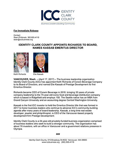 Identity Clark County Appoints Richards to Board, Names Kassab Emeritus Director