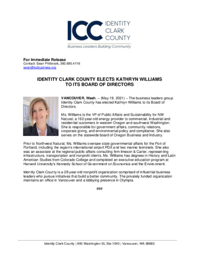 Identity Clark County Elects Kathryn Williams to its Board of Directors