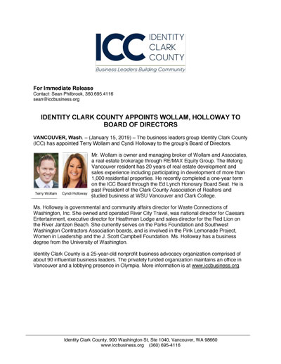 Identity Clark County Appoints Wollam, Holloway To Board Of Directors