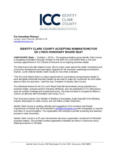 Identity Clark County Accepting Nominations for Ed Lynch Honorary Board Seat