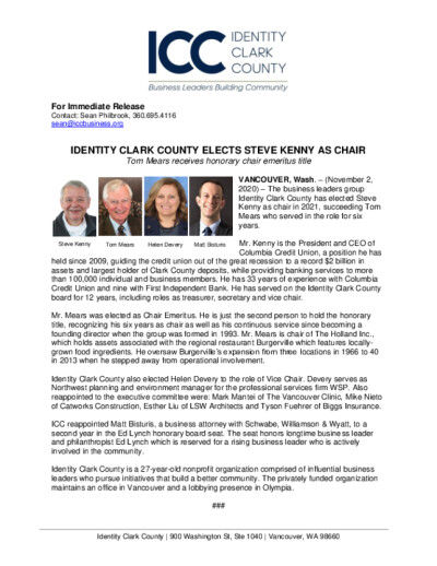 Identity Clark County Elects Steve Kenny As Chair