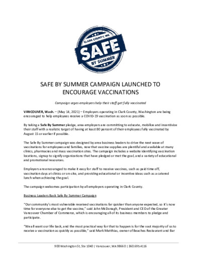 Safe by Summer Campaign Launched to Encourage Vaccinations